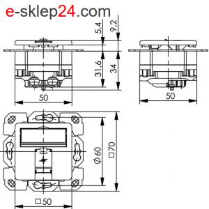 Gniazdo RJ45 podtynkowe pojedyncze ekranowane – Telegartner
