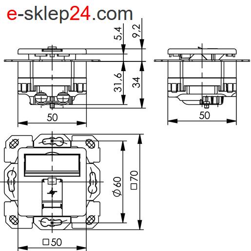 J00020A0419 - gniazdo RJ45 wymiary Telegartner