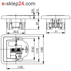 Gniazdo RJ45 podtynkowe pojedyncze – Telegartner