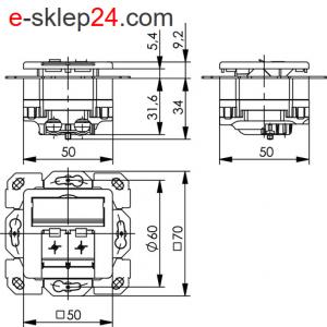 Gniazdo 2xRJ45 kat. 6A ekranowane podtynkowe podwójne – Telegartner