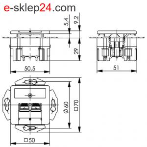 Gniazdo 2xRJ45 kat. 6A podtynkowe podwójne – Telegartner