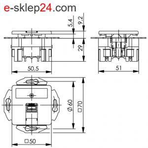 Gniazdo RJ45 kat. 6A podtynkowe podjedyńcze – Telegartner
