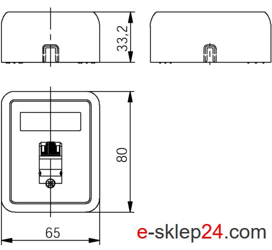 J00023A0176 - wymiary gniazda natynkowego RJ45 - Telegartner