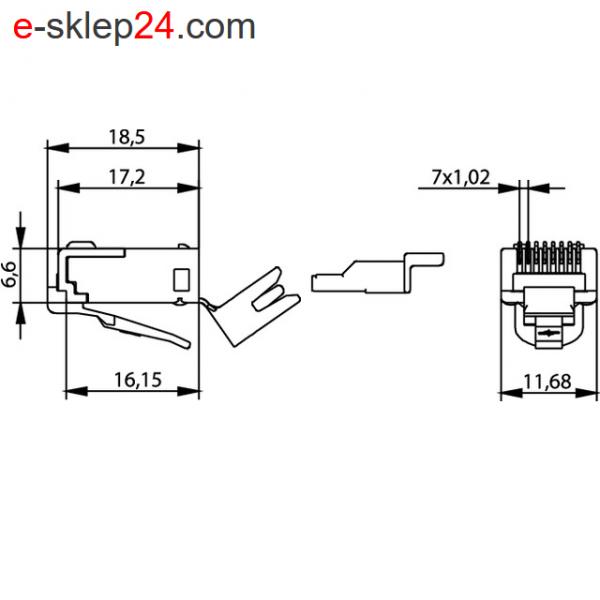 J00026A0165 - wymiary wtyku RJ45 kat.6a ekran - Telegartner