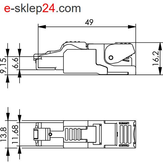 J00026A2001 - wymiary wtyku RJ45 kat.6a beznarzędziowego MFP8 - Telegartner