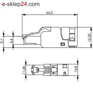 Wtyk RJ45 UFP8 kat.6A beznarzędziowy AWG27-23 – Telegartner