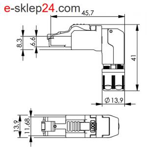 Wtyk RJ45 MFP8 kat.6A kątowy 90st. AWG22 – Telegartner