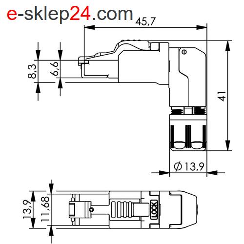 J00026A4001 - wymiary wtyku RJ45 - Telegartner