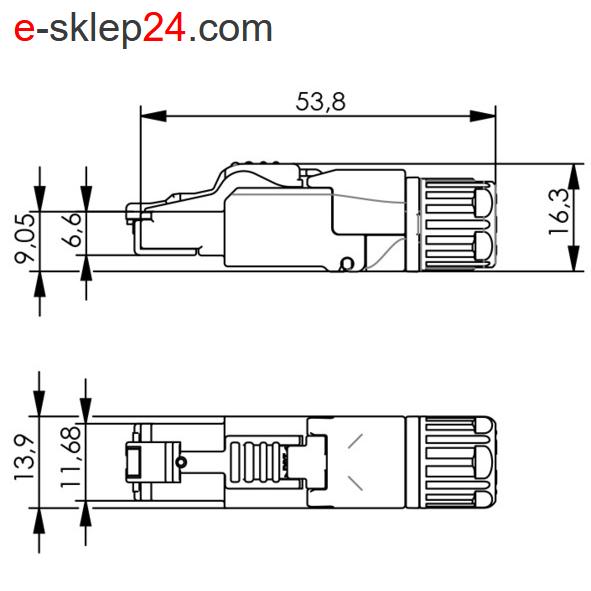 J00026A5001 - wymiary wtyku RJ45 z dławicą - Telegartner