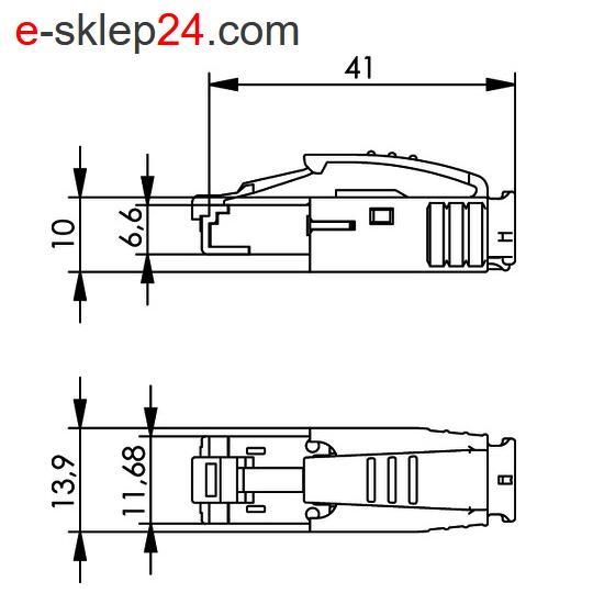 J80026A0001 - wymiary wtyku RJ45 STX IP20 - Telegartner