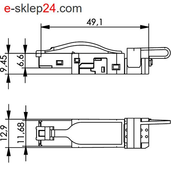 J80026A0003 - wymiary wtyku RJ45 AWG23 IP20 STX - Telegartner