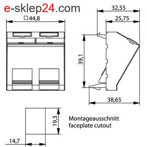 Adapter 45×45 na 2xRJ45 keystone kątowy z klapką – Telegartner