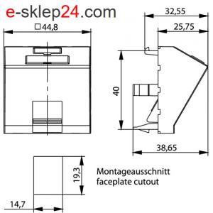 Adapter 45×45 na RJ45 keystone kątowy z klapką – Telegartner
