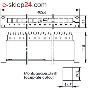 Patch panel 19″ niewyposażony 1U z półką – Telegartner