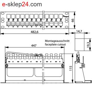Patch panel 19″ niewyposażony 1,5U z półką – Telegartner
