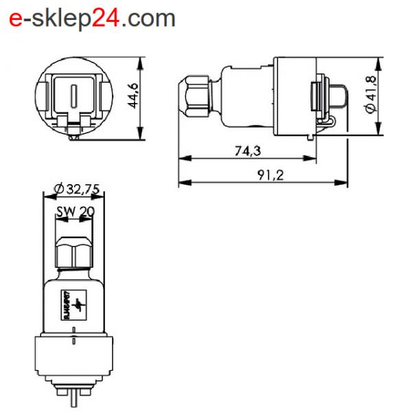 J00020A0437 - STX V6 RJ45 IP67 wymiary - Telegartner