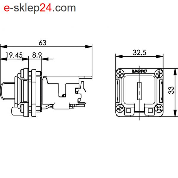 J00020A0481 - STX V6 RJ45 IP67 wymiary - Telegartner