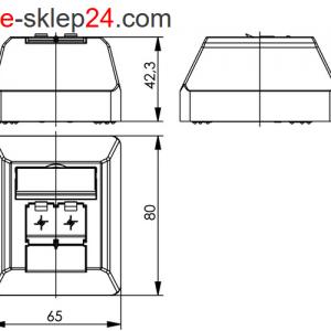 Gniazdo 2xRJ45 kat.6A ekran naścienne podwójne – Telegartner