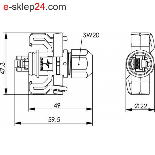 J00026A0150 STX V6 IP67 wtyk RJ45 kat.6A wymiary - Telegartner