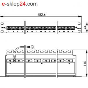 Patch panel 19″ 24xRJ45 kat.6A UTP- Telegartner