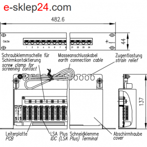 Patch panel 19″ 24xRJ45 kat.5e FTP- Telegartner