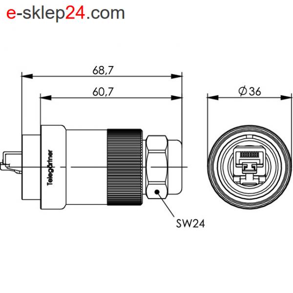 J60026A0000 wtyk RJ45 IP67 IP68 wymiary Telegartner