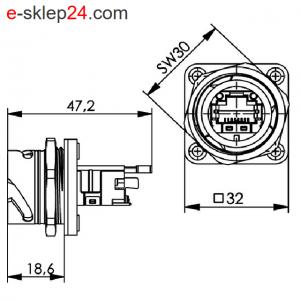 STX V1 gniazdo RJ45 6A IP67 – Telegartner