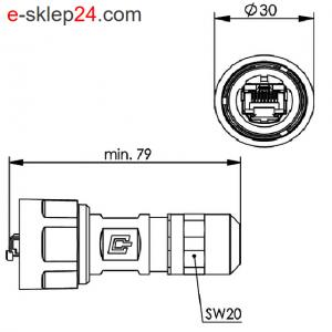 STX V1 wtyk RJ45 6A metal AWG24-27 IP67 – Telegartner