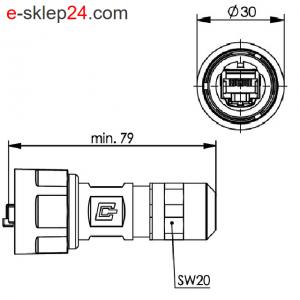 STX V1 wtyk RJ45 6A metal AWG22-26 IP67 – Telegartner