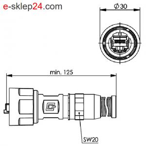 STX V1 wtyk RJ45 6A metal AWG22-26 IP67 z odgiętką – Telegartner
