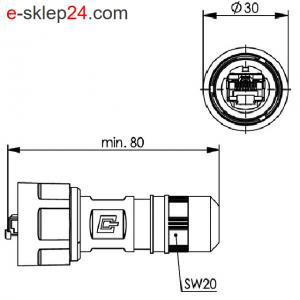 STX V1 wtyk RJ45 6A AWG24-27 IP67 – Telegartner