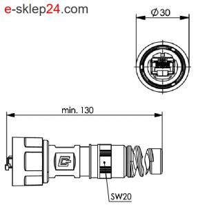 STX V1 wtyk RJ45 6A AWG24-27 IP67 z odgiętką – Telegartner