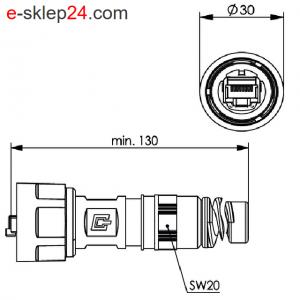 STX V1 wtyk RJ45 6A AWG22-26 IP67 z odgiętką – Telegartner