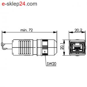 STX V4 wtyk RJ45 6A IP67 AWG24-27 – Telegartner