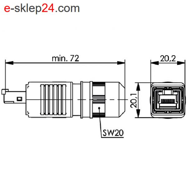 J80026A0015 wymiary wtyku RJ45 kat.6A STX V4 IP67 Telegartner