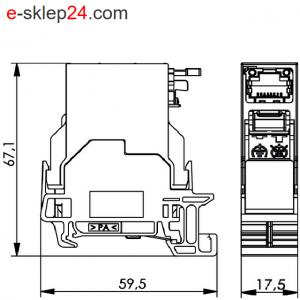 Gniazdo RJ45 kat.6A na szynę TH35 – Telegartner