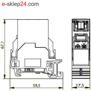 Łącznik RJ45-RJ45 kat.6A na szynę TH35 – Telegartner