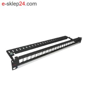 Patch panel 19″ 24xRJ45 keystone 1U niewyposażony czarny – Molex